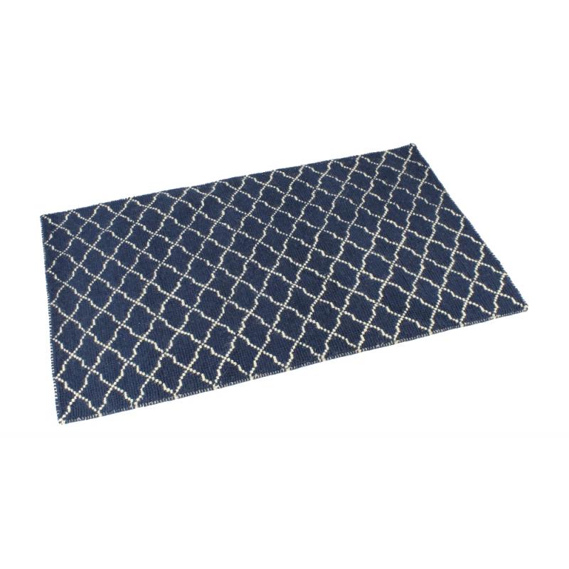 Handgewebter Teppich aus Baumwolle  marineblau  weiß, 59
