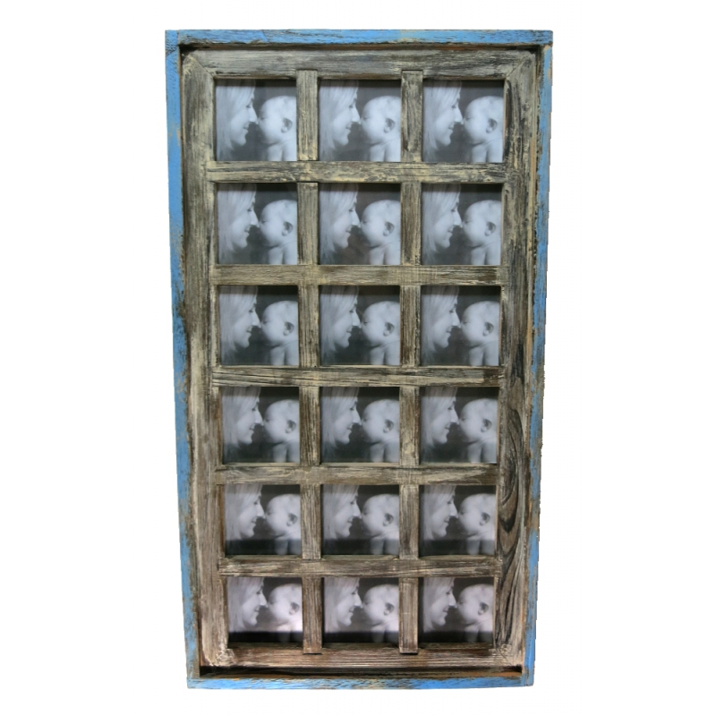 holz bilderrahmen collage shabby 36 5 x 66 5cm natur beige blau. Black Bedroom Furniture Sets. Home Design Ideas