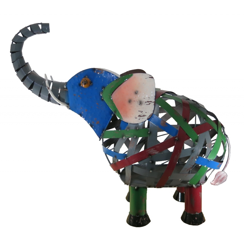 gro e metall skulptur elefant 90cm x 85cm deko figur kunst. Black Bedroom Furniture Sets. Home Design Ideas