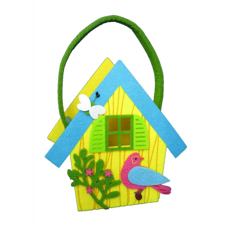 deko tasche aus filz vogelhaus bunt 20 x 27cm 6 99. Black Bedroom Furniture Sets. Home Design Ideas