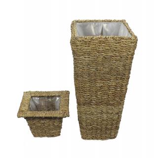 jetzt kaufen blumentopf 3er set aus geflochtener wasserhyazinthe mit einsatz der daro deko. Black Bedroom Furniture Sets. Home Design Ideas