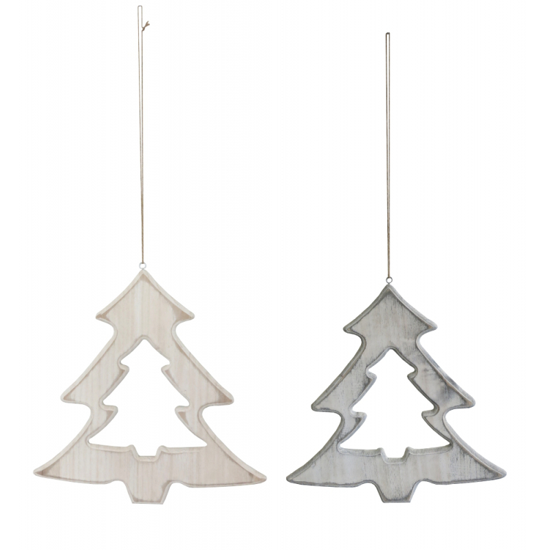 holz deko h nger weihnachtsbaum mit kordel 3 99 eu. Black Bedroom Furniture Sets. Home Design Ideas