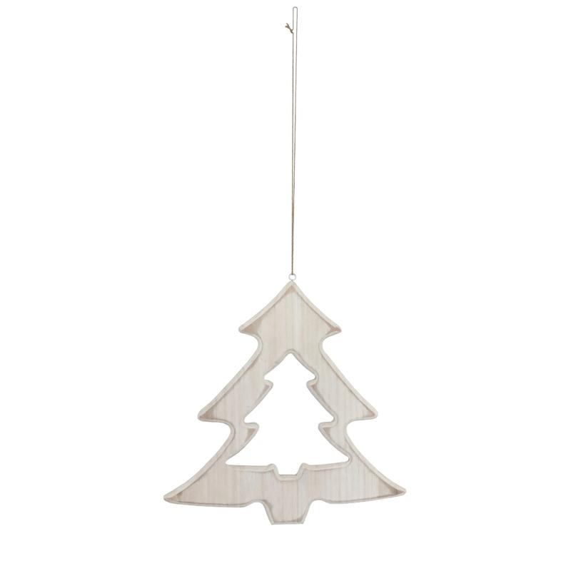 jetzt kaufen holz deko h nger weihnachtsbaum mit kordel wei 20 cm der daro deko online shop. Black Bedroom Furniture Sets. Home Design Ideas