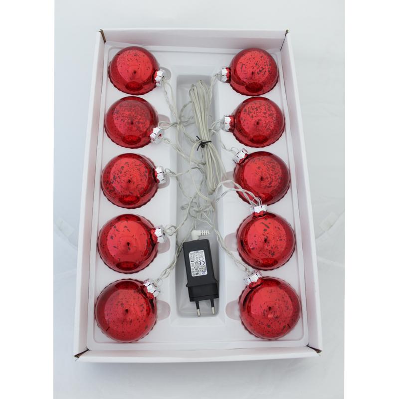 jetzt kaufen led weihnachtskugeln 10 st ck 7 cm mit netzstecker rot der daro deko. Black Bedroom Furniture Sets. Home Design Ideas