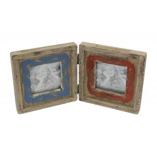Holz bilderrahmen f r 2 bilder rot blau braun 11 99 - Deko blau braun ...