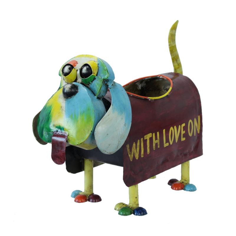 jetzt kaufen deko figur hund mit pflanzgef aus metall der daro deko online shop deko aus. Black Bedroom Furniture Sets. Home Design Ideas