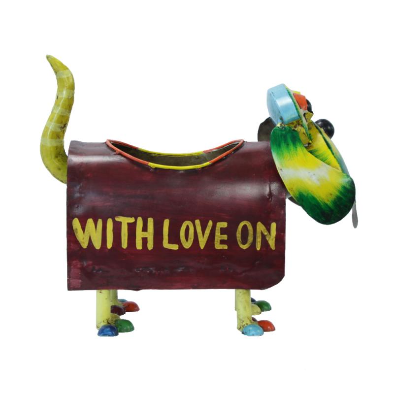 Jetzt kaufen deko figur hund mit pflanzgef aus metall for Metall deko shop