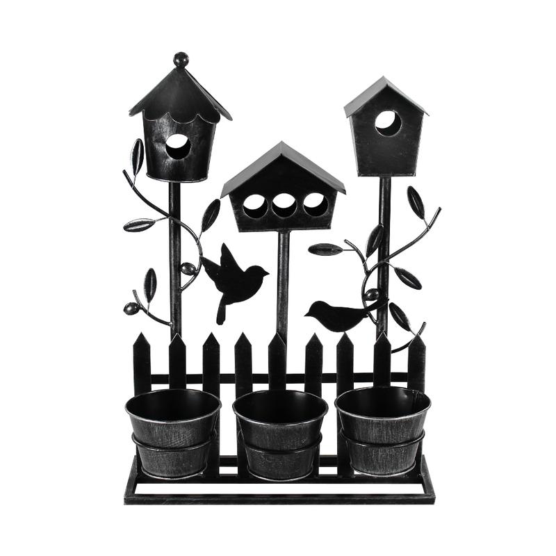 jetzt kaufen metall vogelhaus mit blumentopf l 51 cm. Black Bedroom Furniture Sets. Home Design Ideas