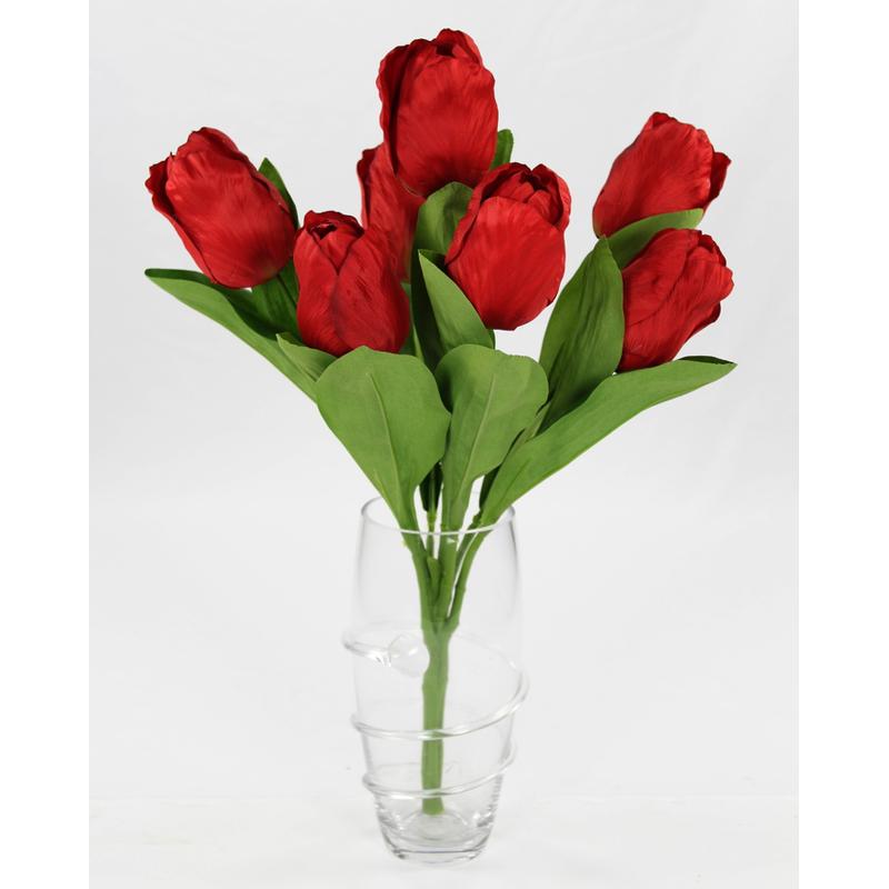 jetzt kaufen kunstpflanze tulpe strau mit 7 bl ten rot. Black Bedroom Furniture Sets. Home Design Ideas