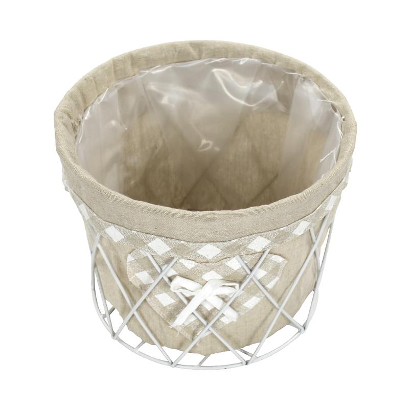 Jetzt kaufen drahtkorb rund klein mit stoff und plastikeinsatz der daro deko online shop - Deko mit drahtkorb ...