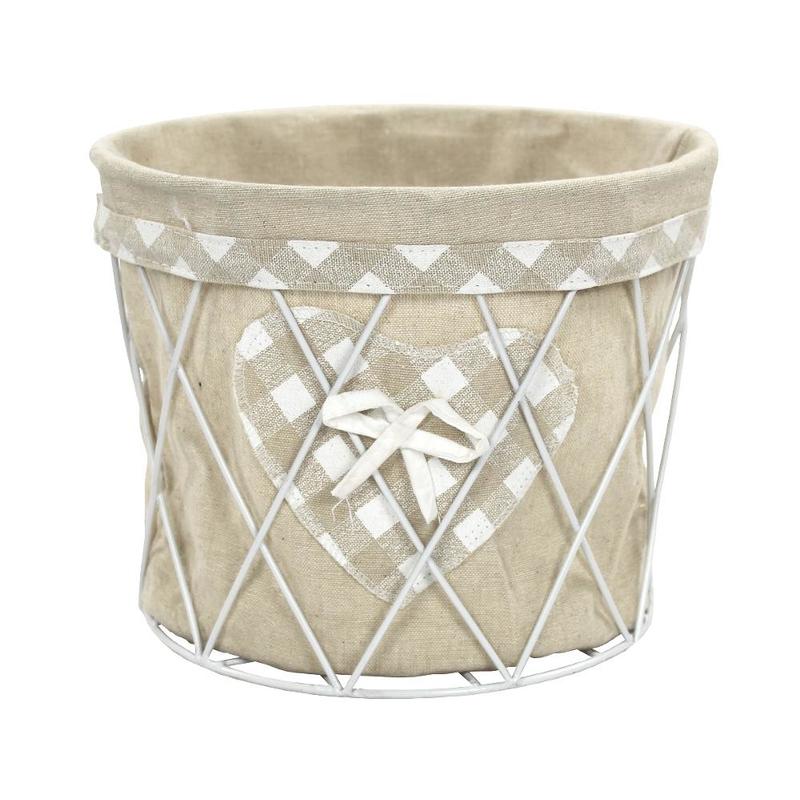 Jetzt kaufen drahtkorb rund klein mit stoffeinsatz der daro deko online shop deko aus - Deko mit drahtkorb ...