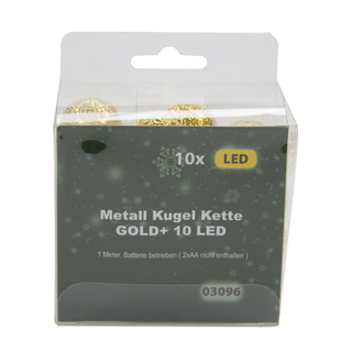 LED Metall Lichterkette Kugeln 10 LED gold
