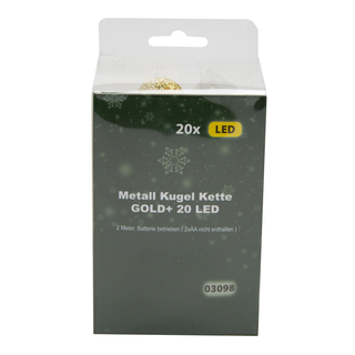 LED Metall Lichterkette Kugeln 20 LED gold