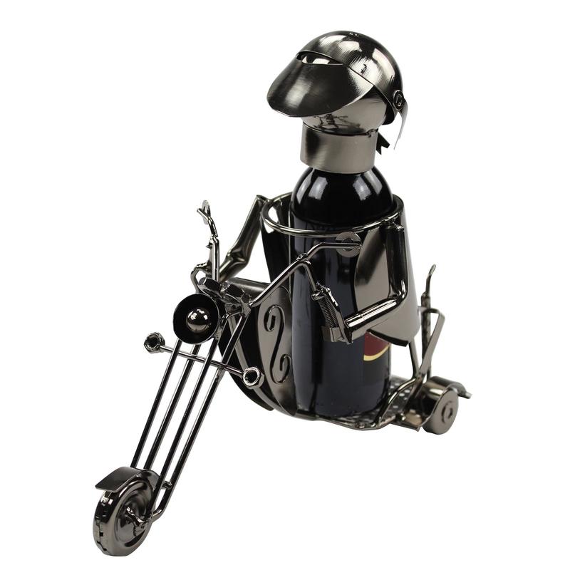 Jetzt kaufen metall flaschenhalter motorradfahrer der for Metall deko shop