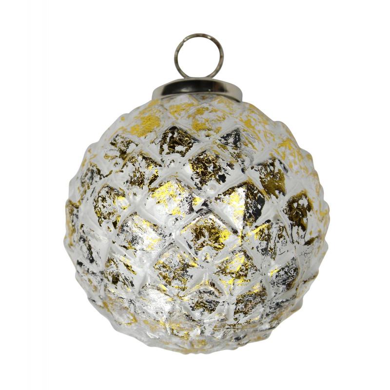 glas weihnachtskugeln 4 st ck ananas 10cm silber gold. Black Bedroom Furniture Sets. Home Design Ideas