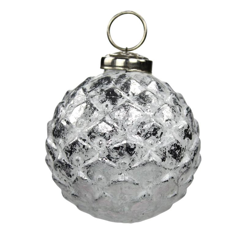 jetzt kaufen glas weihnachtskugeln 4 st ck ananas 8 cm silber der daro deko online shop. Black Bedroom Furniture Sets. Home Design Ideas
