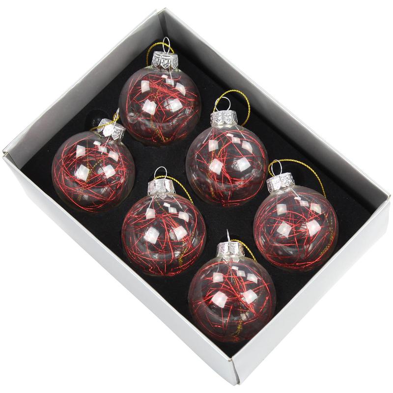 jetzt kaufen glas weihnachtskugeln 6 st ck rot der daro deko online shop deko aus. Black Bedroom Furniture Sets. Home Design Ideas