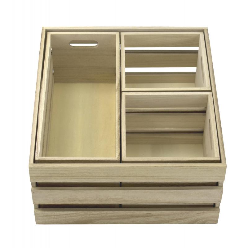 jetzt kaufen holz kiste 4er set mit griffen der daro deko online shop deko aus leidenschaft. Black Bedroom Furniture Sets. Home Design Ideas