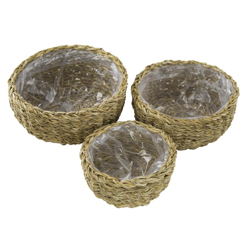 jetzt kaufen seegras korb mit einsatz a rund flach 3 st ck s m und l der daro deko. Black Bedroom Furniture Sets. Home Design Ideas