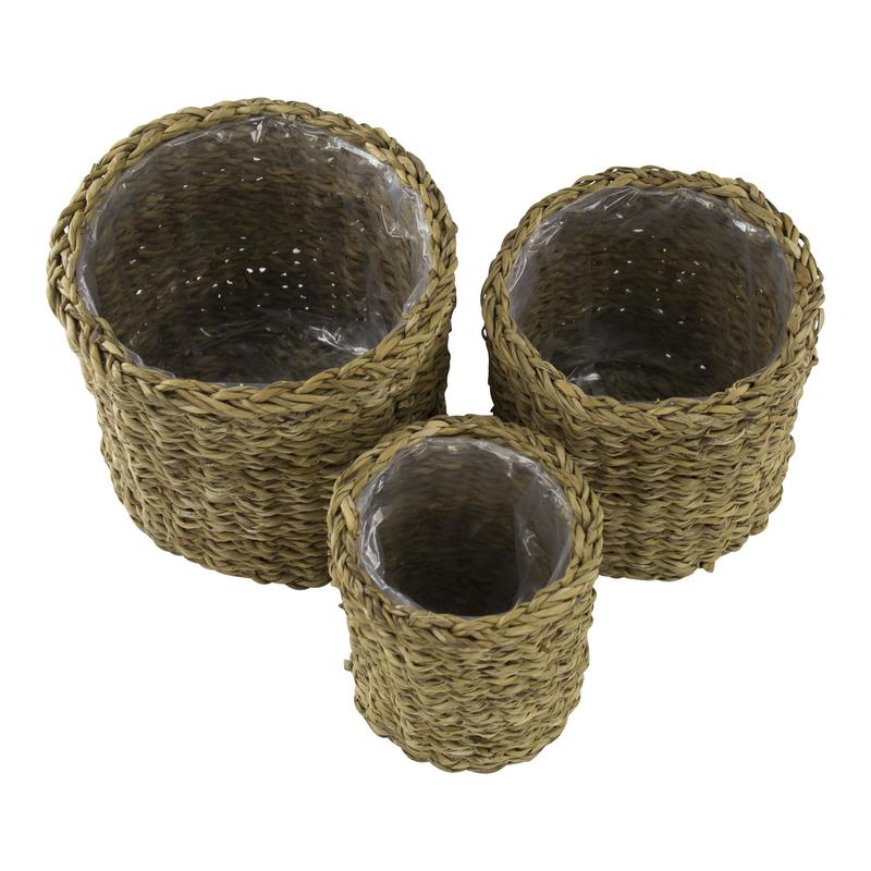 jetzt kaufen seegras korb mit einsatz c rund hoch 3 st ck s m und l der daro deko. Black Bedroom Furniture Sets. Home Design Ideas