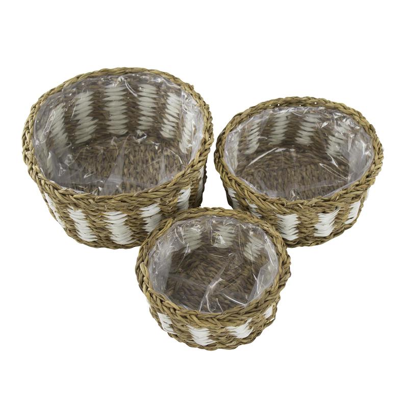 jetzt kaufen seegras korb mit einsatz e zweifarbig 3 st ck s m und l der daro deko. Black Bedroom Furniture Sets. Home Design Ideas